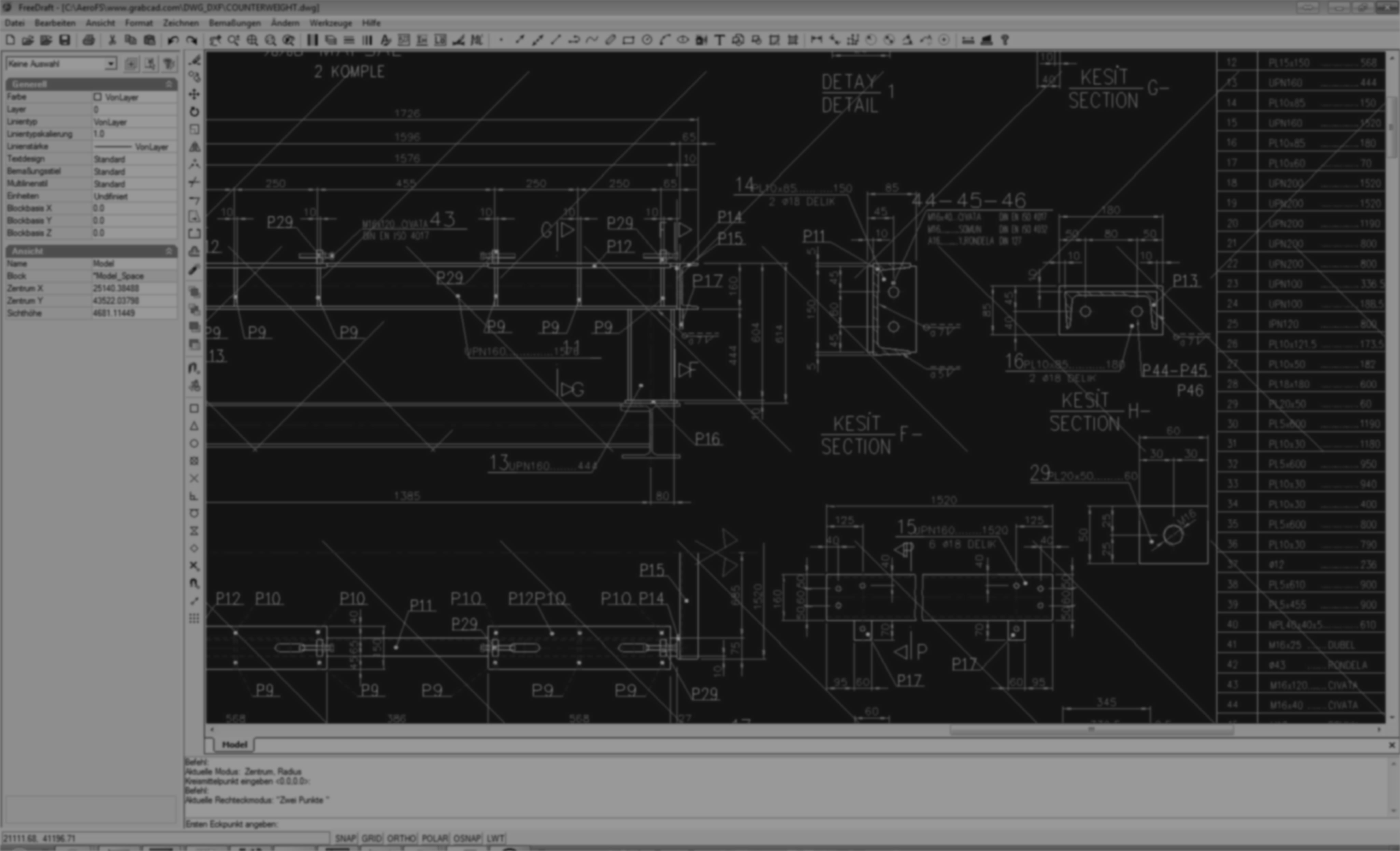 Kostenloses CAD-Programm - FreeDraft CAD